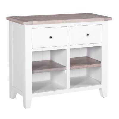 Large Chalked Oak White Painted Buffet with 2 Drawers and 2 Shelves
