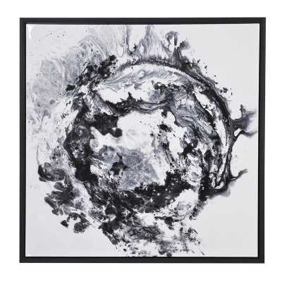 Modern Black and White Abstract Canvas Wall Art with Black Frame