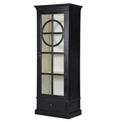 Modern Black 1 Door Single Glazed Display Cabinet with Base Drawer