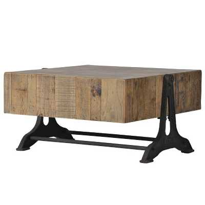 Industrial Style Wooden Block Coffee Table with Iron Base
