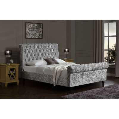Chesterfield Velvet King Size Bed Upholstered Silver Velvet Bed Frame