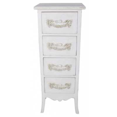 Period Shabby Chic Ivory Wooden Four Drawer Chest of Drawers
