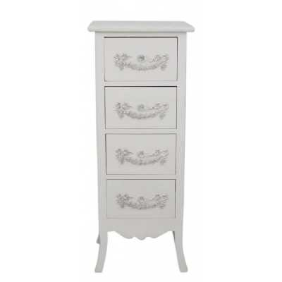 Period Shabby Chic Mocha Wooden Four Drawer Chest with Scrolls