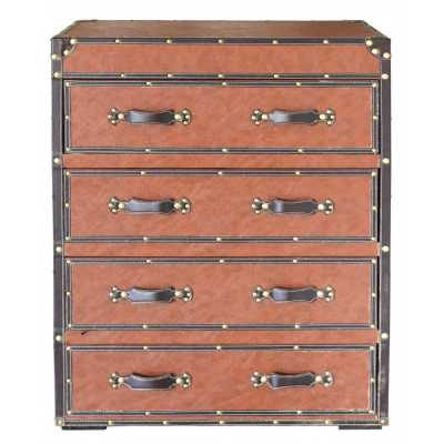 Brown Faux Leather 4 Drawer Chest