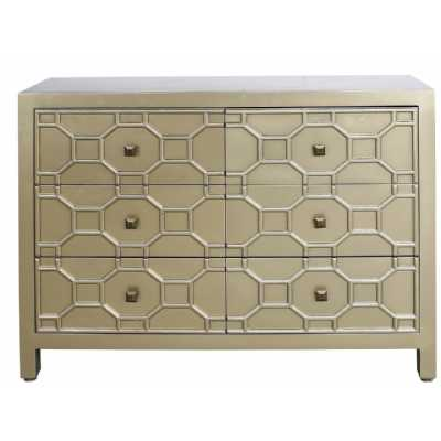 Luxury Westwood Gold finished Geometric Wood 6 Drawer Chest of Drawers