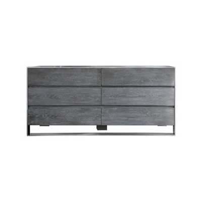 Diego Natural Elm Wood Stainless Steel Frame 6 Drawer Chest