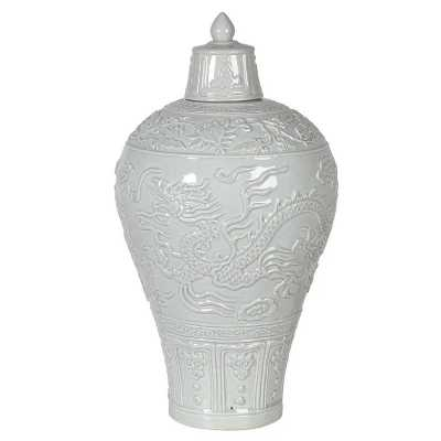 Antique Effect Meiping Vase With Lid