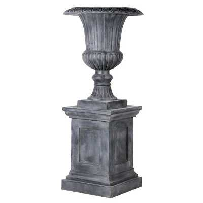 Large Outdoor Garden Aged Lead Effect Urn And Base