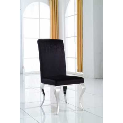 Pair Of Modern CC Black Dining Chair With Sleek Chrome Legs