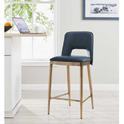 Morgan Barstool Night Blue Faux Leather