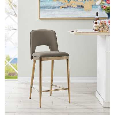 Morgan Barstool Taupe Faux Leather