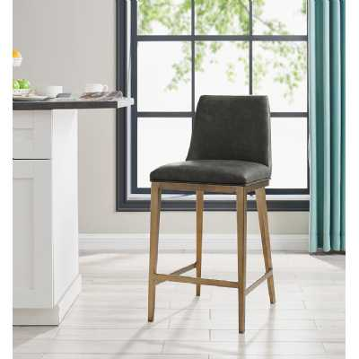 Bay Barstool Vintage Grey Faux Leather