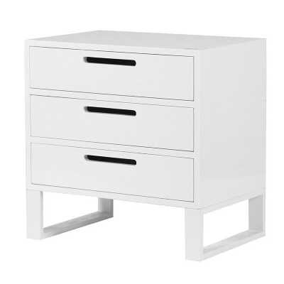 Contemporary Modern High Gloss White 3 Drawer Bedside Cabinet Chest