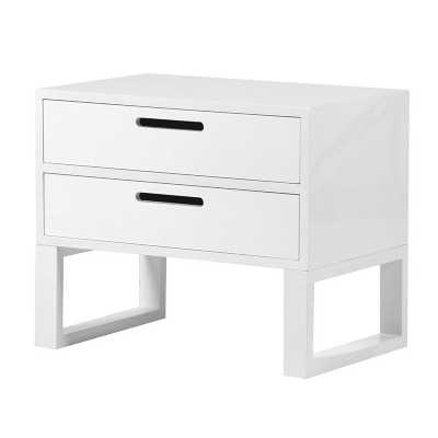 Modern White High Gloss 2 Drawer Bedside Table