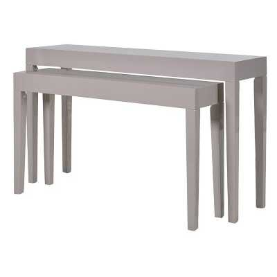 Set of 2 Taupe High Gloss Modern Console Tables