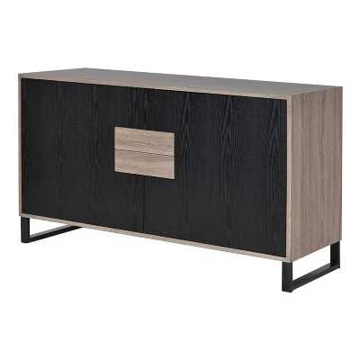 Linear Modern Eastern Abstract 2 Tone Sideboard with Drawers