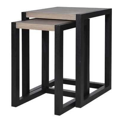 Linear Modern Eastern 2 Tone Nest Of 2 Tables