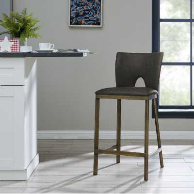 Ella Barstool Vintage Grey Faux Leather