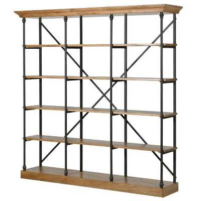 Large Industrial Iron Framed Display Shelving Unit with Oak Shelving