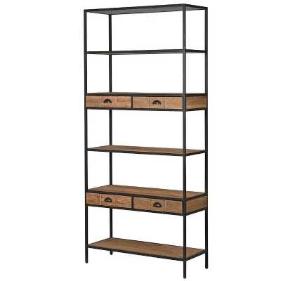 Industrial Vintage Style Reclaimed Oak Iron Frame Tall Shelf Unit