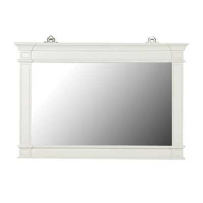 Large Rectangular White Painted Fayence Overmantel Wall Mirror