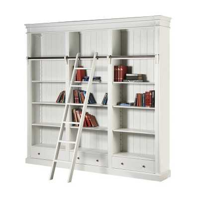 Fayence White Painted Large Library Bookcase with Ladder and Rail