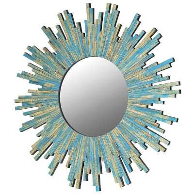 Distressed Turquoise Painted Traditional Sunburst Wall Mirror