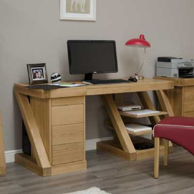 Z Shape Large Oak Computer Desk with Drawers Keyboard Tray and Shelves