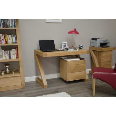 Z Shape Oak Small Computer Study Laptop Desk Keyboard and Storage Drawer Chest