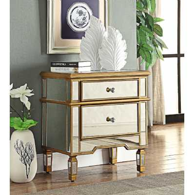 Imperial Mirrored Glass 2 Drawer End Table With An Antiqued Gold Trim