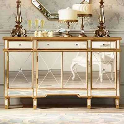 Large Imperial Mirrored Glass Sideboard with Gold Trim 4 Doors 3 Drawers