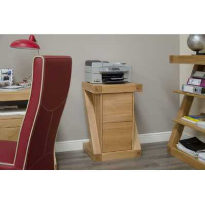 Z Shape Oak Filing Cabinet with 2 Drawers Home Office Study Storage Unit