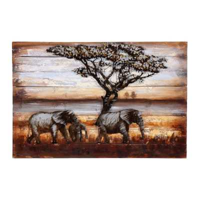 Paintings African Elephant Family Metal Art On Wood
