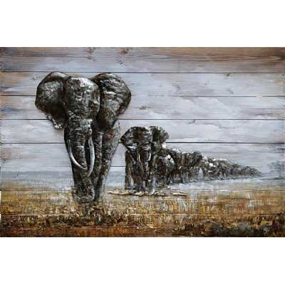 Paintings Elephant Family On Wood