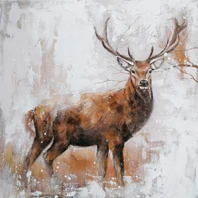 Classic Rectangular Stag Canvas Decorative Wall Art Painting 100 x 100cm