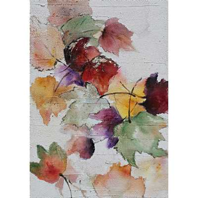 Contemporary Style Paintings Multicoloured Leaf Canvas Wall Art 100 x 70cm