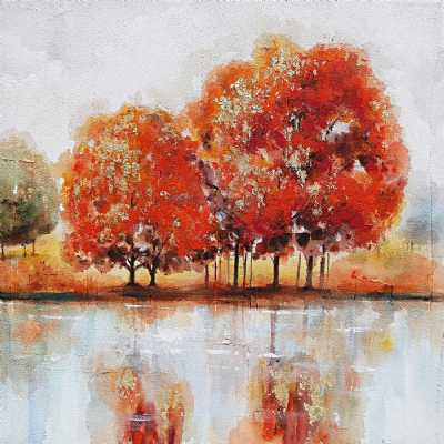 Paintings Autumnal Trees and Lake Colorful Square Artistic Canvas Wall Art 100cm
