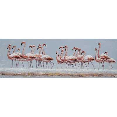 Contemporary Style Paintings Flock of Flamingoes Canvas Wall Art 50 x 150cm