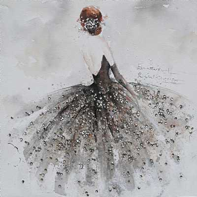 Paintings Ballerina Grey Tone Square Large Canvas Wall Art Picture 100cm