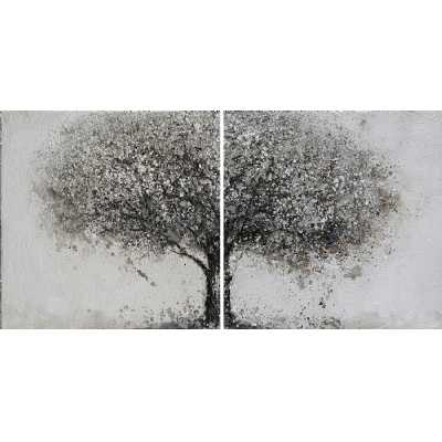 Contemporary Paintings Grey Square Shaped Tree Diptych Canvas Pair Wall Art 160x80cm
