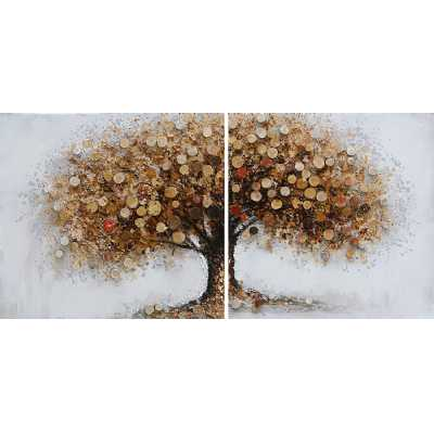 Square Shaped Paintings Autumnal Tree Diptych Canvas Pair Wall Art 160x80cm