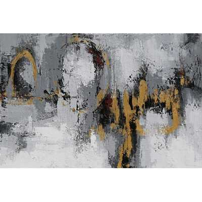 Paintings Contemporary Grey and Gold Abstract Rectangular Large Canvas Wall Art 120x80cm