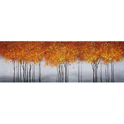 Contemporary Style Paintings Autumnal Tree Scape Canvas Wall Art 70 x 100cm