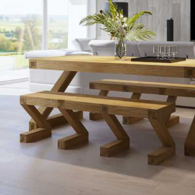 Z Shape Large Oak Dining Bench to Sit 3 People 144cm Wide Thick Top