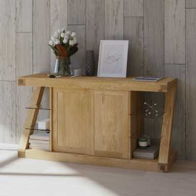 Z Shape Oak Large Sideboard Storage Display Unit 2 Sliding Doors Open Glass Shelves Sides
