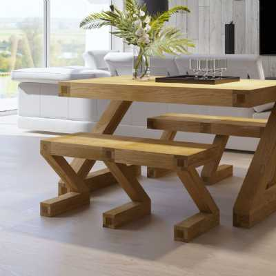 Modern Z Shape Oak Kitchen Dining Table Small Flat Bench 2 Person
