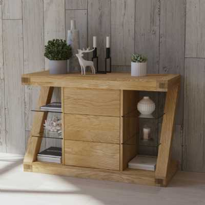 Z Shape Oak Small Open Sideboard 3 Drawers and Glass Side Display Shelves