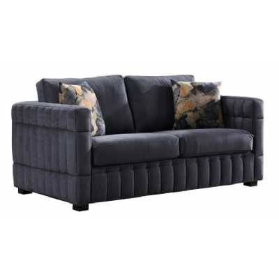 Contemporary Ribbed Navy 2 Seater Sofa with Padded Fabric Upholstery
