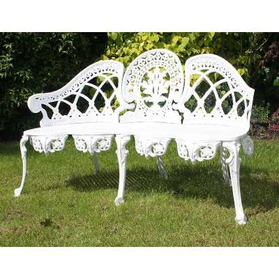 Vintage Style White Painted Ornate Garden Bench Cast Aluminium Metal