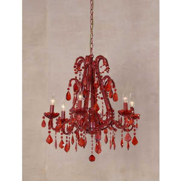 Marie Therese Red Chandelier, Red Crystal 6 Arm